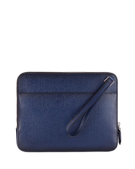 Salvatore Ferragamo Men's Revival Leather Clutch Bag/Travel Case,