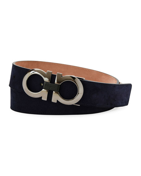 Salvatore Ferragamo Suede Double-Gancini Belt