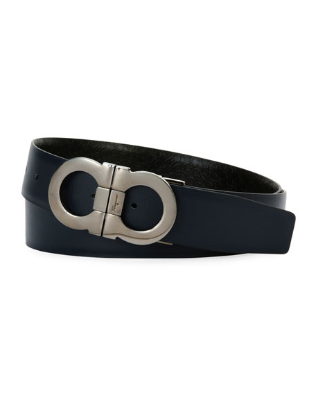Men's Stamped Micro-Gancini Reversible Leather Belt