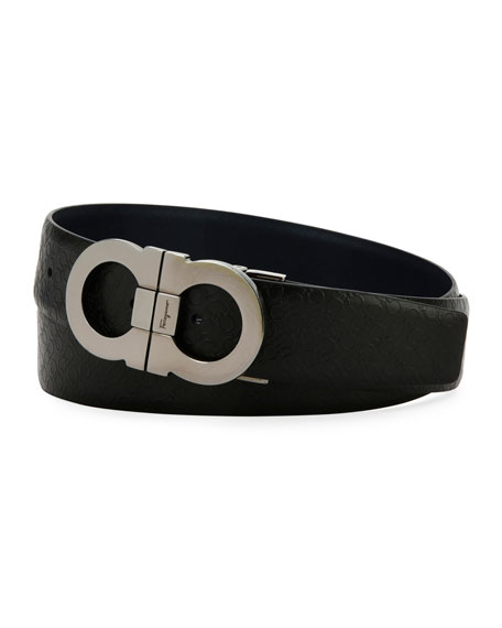 Salvatore Ferragamo Stamped Micro-Gancini Reversible Leather Belt