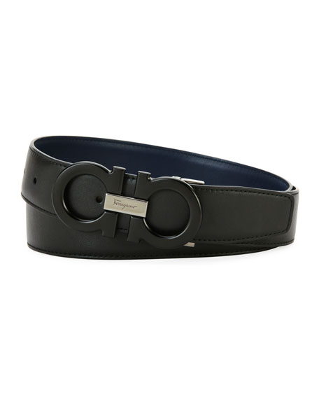Salvatore Ferragamo Men's Tonal Double-Gancio Leather Belt