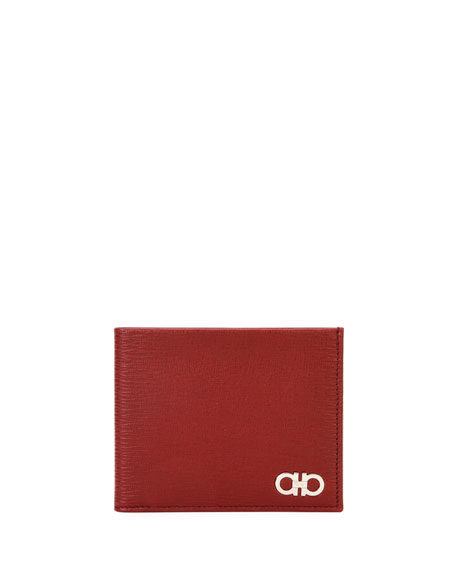 Salvatore Ferragamo Revival Gancini Bi-Fold Leather Wallet, Red