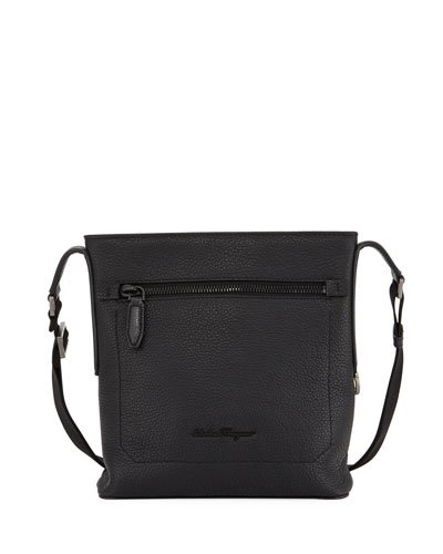 Men's Black on Black Pebbled Leather Crossbody Bag, Black