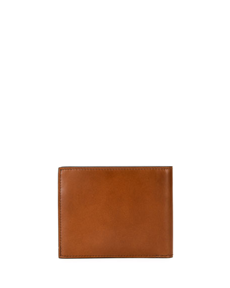 Men's Smooth Calfskin Leather 8-Card Bi-Fold Wallet