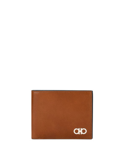 Smooth Calfskin Leather 8-Card Bi-Fold Wallet