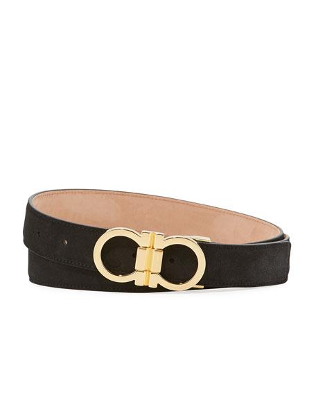 Men's Double-Gancini Suede Belt
