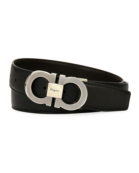 Men's Etched Double-Gancio Leather Belt