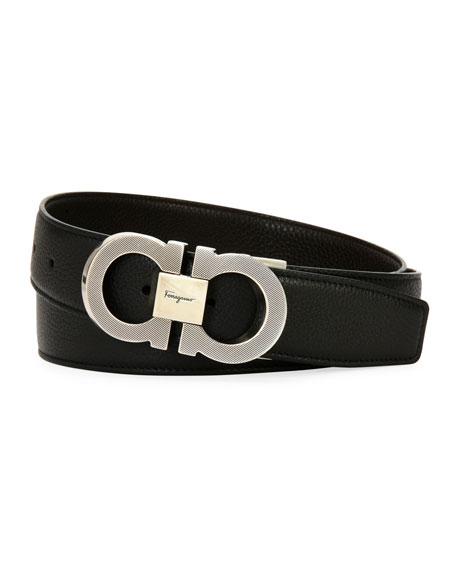 Salvatore Ferragamo Men's Etched Double-Gancio Leather Belt