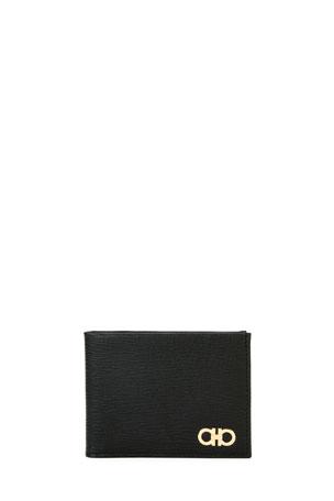 Salvatore Ferragamo Men's Revival Gancini Bi-Fold Leather Wallet with Window, Black