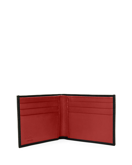 Men's Revival Gancini Bi-Fold Leather Wallet, Black/Red