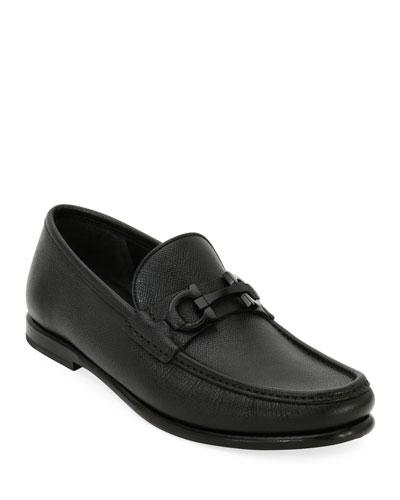 Men's Textured Leather Gancini Moccasin Loafer
