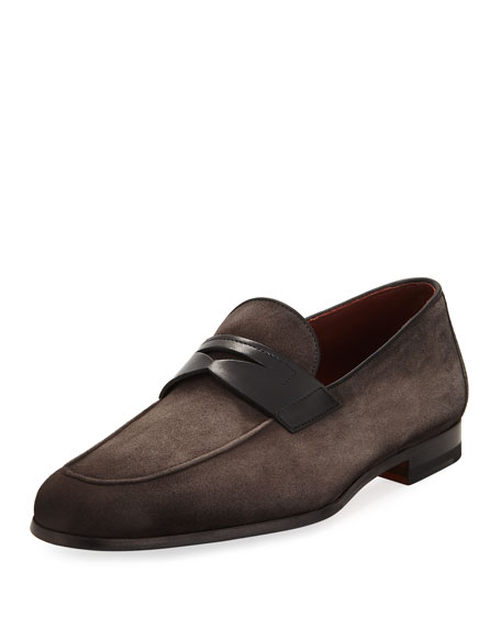 Soft Suede Flat Penny Loafer, Gray