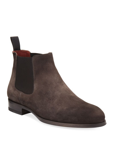 Suede Low Gored Chelsea Boot, Gray