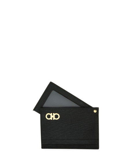 Revival Gancini Leather Card Case with Flip-Out ID Window, Black
