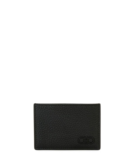 Salvatore Ferragamo Tonal Gancini Leather Card Case