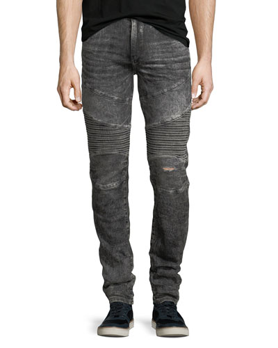 Rocco Distressed Moto Skinny Jeans, Dark Raven