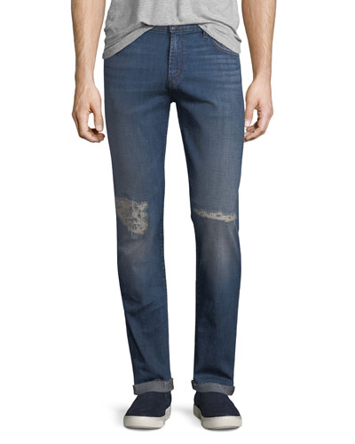 Tyler Tapered Slim-Fit Jeans with Distressing, Experiment