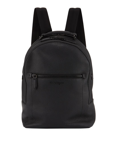 Black On Black Leather Backpack