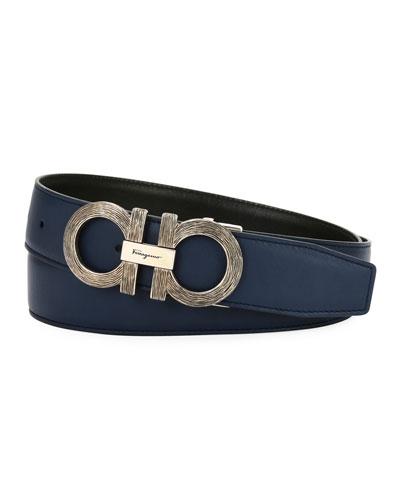 Woodgrain Gancini Reversible Leather Belt