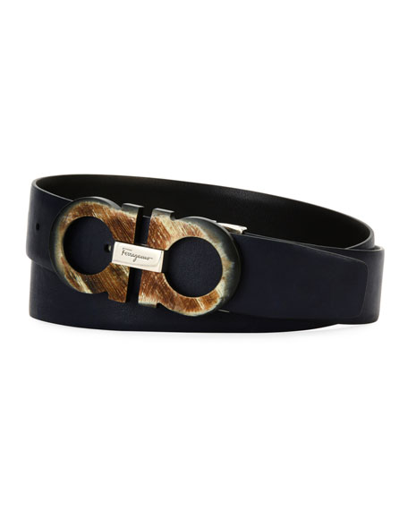 Salvatore Ferragamo Men's Resin Gancini Leather Belt