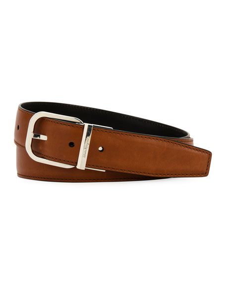 Square-Buckle Reversible Leather Belt