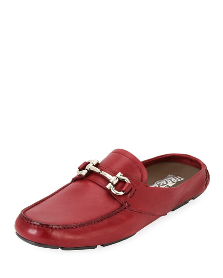 Salvatore Ferragamo Men's Leather Gancini-Bit Mule Slide, Red