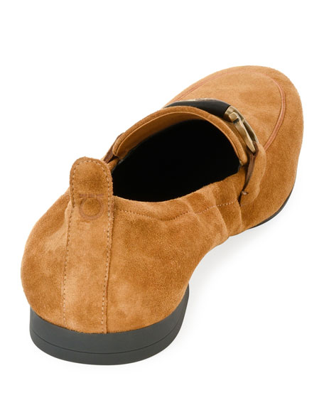 Men's Suede Elastic-Back Gancini-Bit Loafer