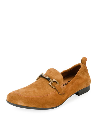 Men's Suede Elastic-Back Gancini-Bit Loafer