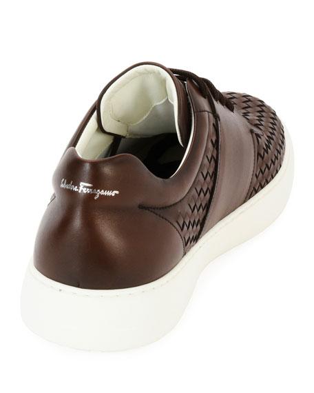 Men's Woven Leather Low-Top Sneakers, Medium Brown