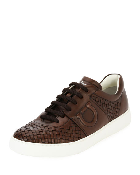 Salvatore Ferragamo Woven Leather Low-Top Sneaker, Medium Brown