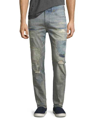 Mick Distressed Patchwork Slim-Straight Jeans