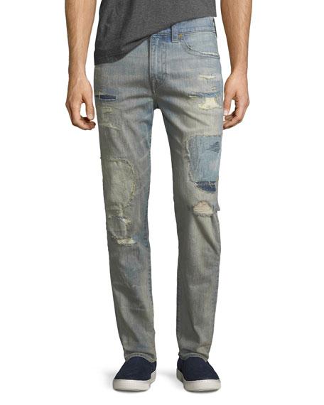 Mick Distressed Patchwork Slim-Straight Jeans