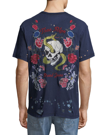 Distressed Snake & Skull Embroidered T-Shirt