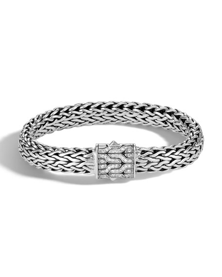 John Hardy Men's Classic Chain Silver Diamond Pave