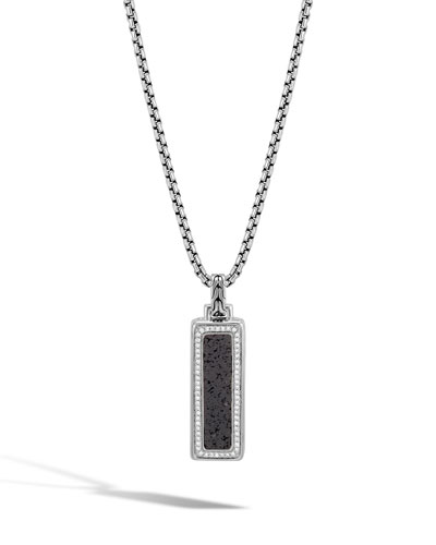 Men's Classic Chain Volcanic Diamond Silver Box Chain Pendant Necklace, 26