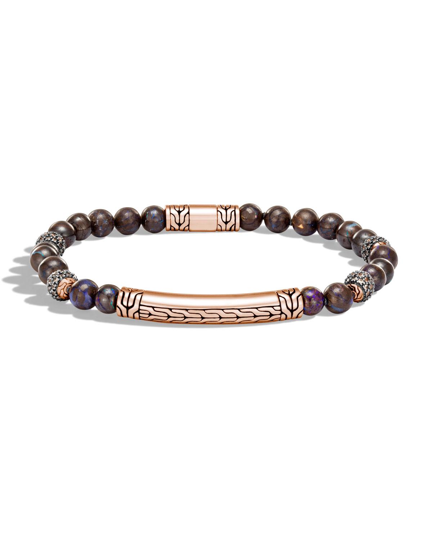 Stephen Dweck Pale Quartz Crystal Bracelet w/Carved Station, Multi