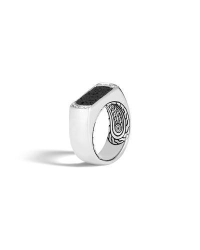 Classic Chain Silver Signet Ring with Black Volcanic