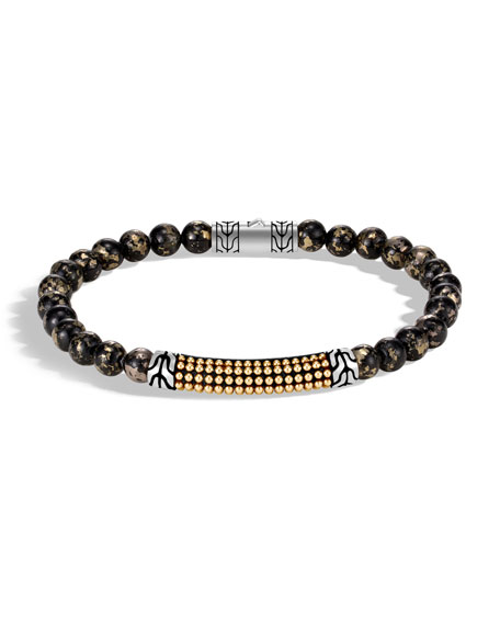 Men's Classic Chain 18-Karat Gold Bead Bracelet