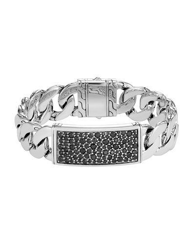Men's Classic Chain Sterling Silver & Sapphire ID Bracelet