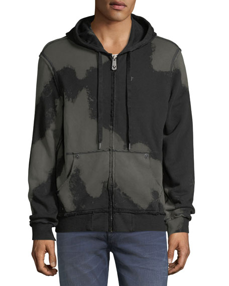 Raw-Edge Quarter-Zip Hoodie, Black