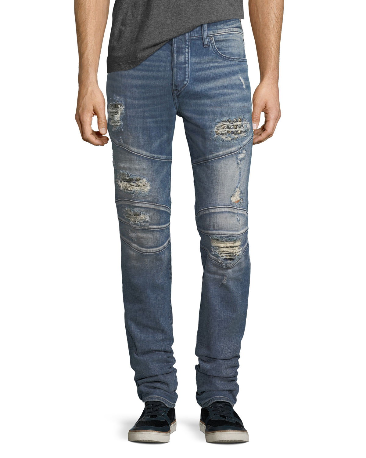 0d855cc45d45 Quick Look. True Religion · Rocco Distressed Skinny Biker Jeans. Available in  Blue