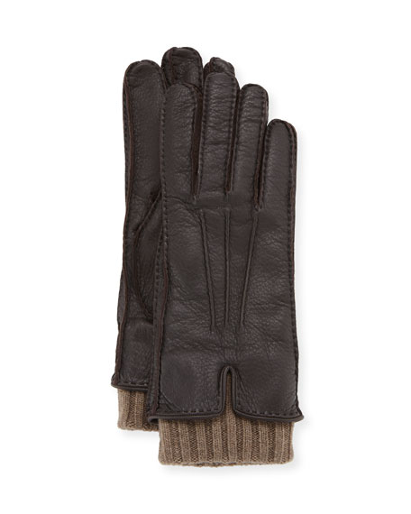 Loro Piana Nubuck Leather & Cashmere Gloves