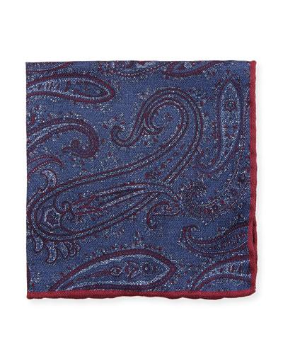 Washed Silk Paisley & Check Pocket Square, Navy