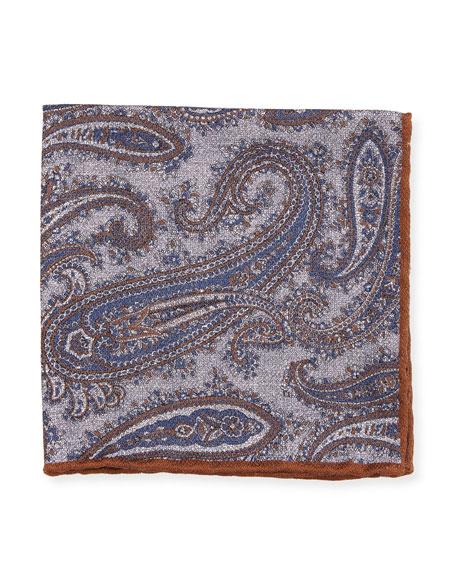 Washed Silk Paisley & Check Pocket Square, Gray