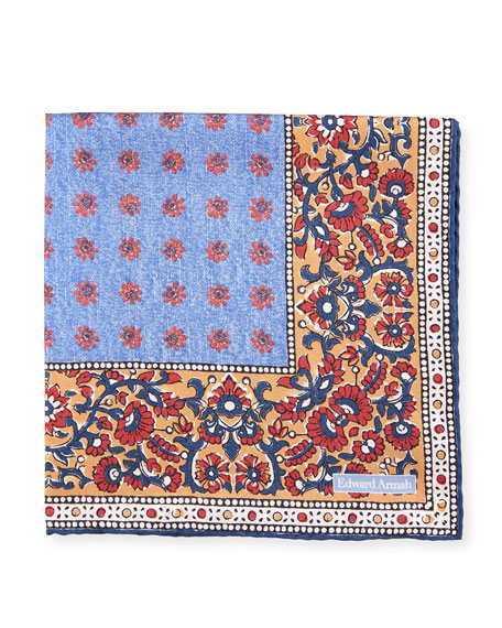 Edward Armah Foulard Paisley Silk Pocket Square, Light
