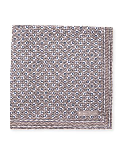 Herringbone Dot Silk Pocket Square, Tan