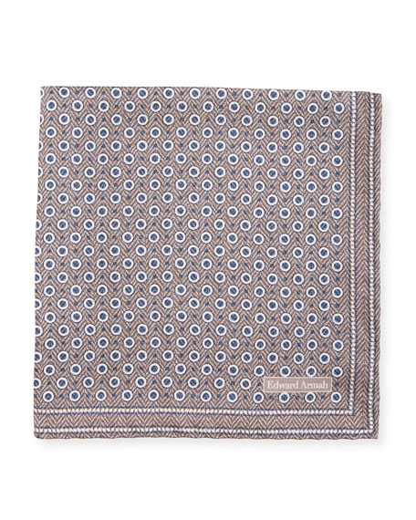 Edward Armah Herringbone Dot Silk Pocket Square, Tan