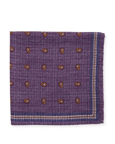 Neat Paisley & Check Silk Pocket Square