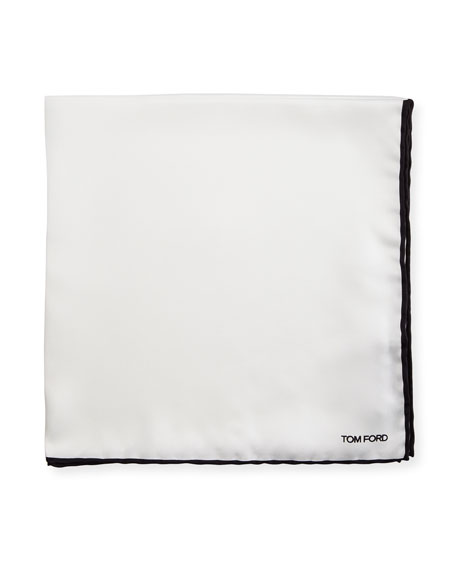 TOM FORD Silk Pocket Square with Contrast Border