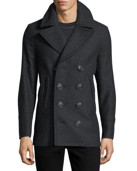 Kirkham Double-Breasted Wool Pea Coat, Charcoal